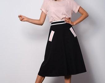 A- line black elegant skirt to work VEGA with pockets