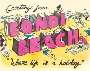 Bondi Postcard - A3 Giclee Print
