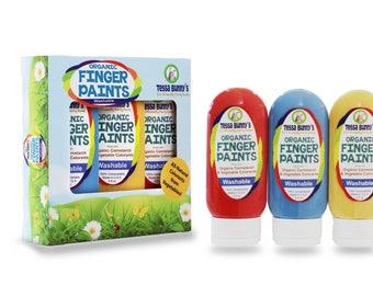 Organic Finger Paints -- Washable, Non-Toxic Kid Safe Paints, All Natural Vegan Colorants