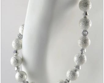 Bracelet CLIP silver metal stardust beads alternating with crystal tops silver and transparent - An 123Pierres jewel