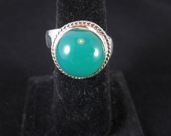 Chrysoprase and Sterling silver Adjustable Ring