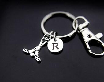 Hockey Player Gift Hockey Keychain Silver Hockey Stick Charm Keychain Hockey Stick Charm Hockey Jewelry Personalized Keychain Initial Charm