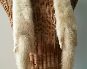 Double Stole, Real Blonde Mink Fur Tippett, Ivory Cream Scarf with 4 paws, 2 tails and 1 face. 40s costume