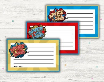 Superhero Baby Shower Games, Advice Cards Printable.