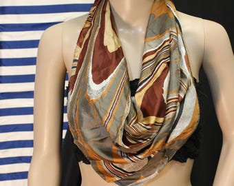 Vtg. 60's/70's Silk Blend Hand Rolled Scarf Made in Japan Psychedelic Multi-Color Earth Tones. Vintage Square Scarf. Boho/Hippie/Festival.