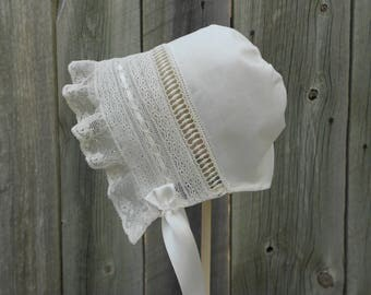 Baby Bonnet-French Heirloom Style, Sz 3-6mo
