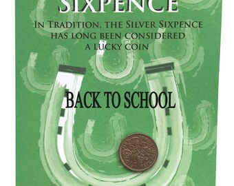 BACK TO SCHOOL, Lucky Silver Sixpence Fun Gift or Greetings Card, Free U.K. 1st Class Post