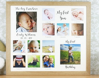My first year, personalised oak photo frame, first birthday gift, Newborn gift, first year keepsake, baby milestone frame.
