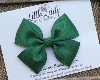 Forest Green Bow Boutique Bow Green St. Patrick's Day bow dark green hair bow girls ribbon bow large bow