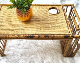 Vintage Wicker Rattan Breakfast In Bed Tray, Bohemian Home, Woven Accents.