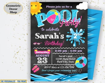 Birthday invitation end of the school year pool party invite chalkboard digital printable Graduation summer party Bash Pink Girl Teal BDP17