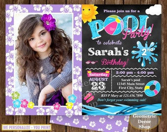 Birthday invitation end of the school year pool party invite party chalkboard Graduation summer Pink Purple Girl Teal photo photograph BDP18