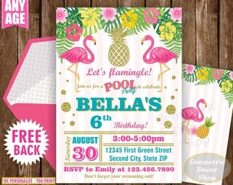 Flamingo Pineapple First Birthday Invitation Pool Bash Birthday invite Printable Luau Hawaiian Party Pink Teal Photo Photograph Gold BDP17