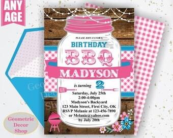 BBQ Invitation / Bbq Birthday invitation / Backyard / barbecue / barbeque / Printable / Invite / Boy girl woodland pink plaid teal BDBBQ11
