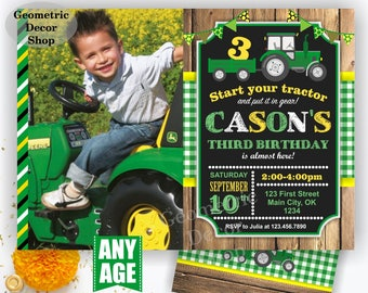 Tractor Birthday Invite, Tractor Invitation, Tractor Birthday Invitations, Yellow, Woodland Green Plaid Boy Girl Photo Photograph Farm BDT20