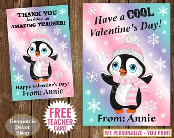 Penguin Valentine Cards / PRINTABLE Valentines Card / Personalized Valentine Kids / Valentine Tags / pink / purple / teal / teacher / VCard1