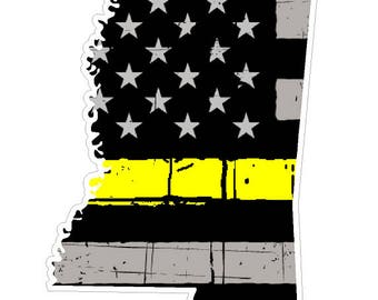 Mississippi State (E25) Thin Yellow Line Dispatch Vinyl Decal Sticker Car/Truck Laptop/Netbook Window