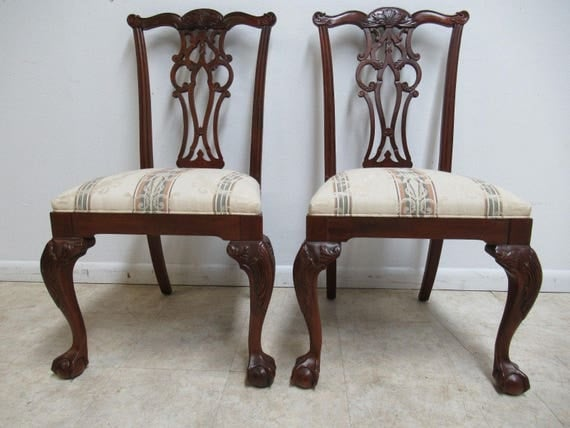 2 Ethan Allen 18th Century Mahogany Dining Side Chairs Ball Claw Chippendale A