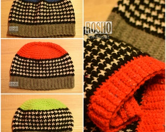 Warm hat with hounstooth stich Family sizes available