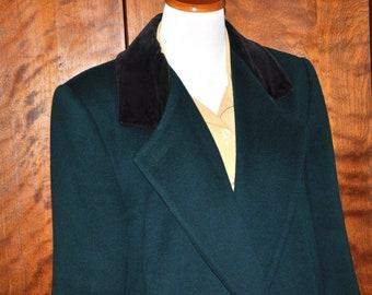 Vintage Wool Coat, Forecaster of Boston Coat, Full Length Wool Coat, Green Wool Coat, Green Vintage Coat, Green Full Length Coat