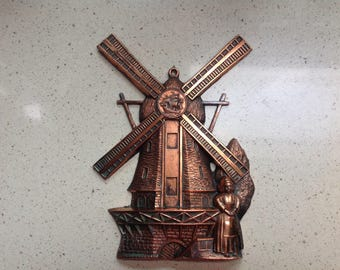 Vintage Copper Windmill with Dutch Girl 1970's Placque
