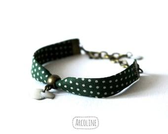 Bracelet Liberty Sequin enameled green peas