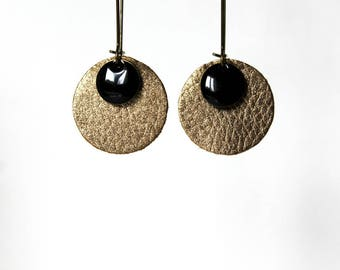 Earrings leather ° ° gold Sequin black ° °