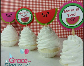 12 Personalized Watermelon Themed Cupcake Toppers