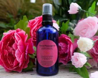 Floral Massage Oil - Bath Oil - Body Oil - Organic Skin Care-Perfume -Stress Relief Massage Oil - For Her - Aphrodisiac -Aromatherapy- Vegan