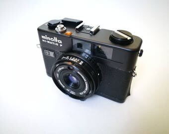 Black Minolta Hi-Matic F with New Light Seals. Vintage Ready-To-Use 1970s Rangefinder Camera