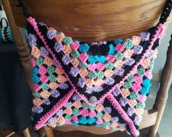 Colorful Crochet Granny Square  Purse