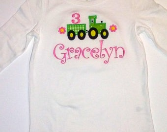 Girl's John Deere Tractor Pink Green Tractor 3rd Birthday Shirt Personalized