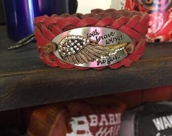 Angel wing leather cuff bracelet