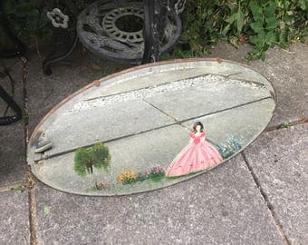 Frameless Oval Mirror Art Decco Mirror Vintage Mirror old mirror hanging mirror scratched painted mirror