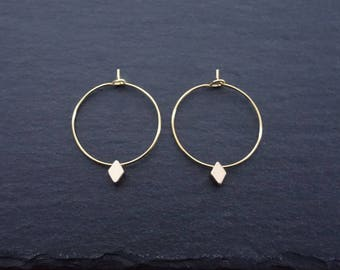 Diamond Hoops Gilded