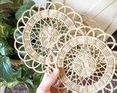 Vintage Small Wall Basket   • woven wicker trivet • Bohemian Decor