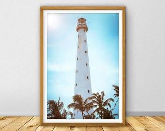 lighthouse Print Retro Wall Art, Nautical Decor, Beach Home Decor, Vintage Style Large Print, Coastal, lighthouse Photography (W0544)