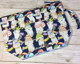 Zipped project bag - Cats in Hats - Navy
