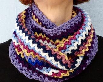 Handmade Multicoloured Crocheted Cowl