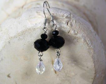 Handmade Black and Crystal Clear Earrings