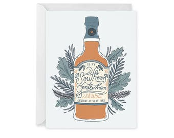 Whiskey Card - Card for Him - Single Card - Southern Gentleman Romantic Whiskey Card Blank Inside
