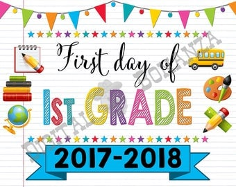 First Day of First Grade Sign, Instant Download, First Day of School Color Notebook, Back To School, Notebook Sign, DIY, 1st Printable