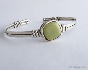 Antique silver plated double ethnic bracelet - jade -