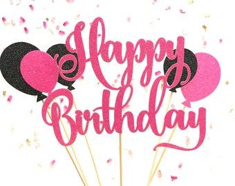 Hot Pink & Black Glitter Script Happy Birthday Balloons Cake Topper | Cursive Cake Topper | Girly Cake Topper | Pink Glitter Cake Accessory