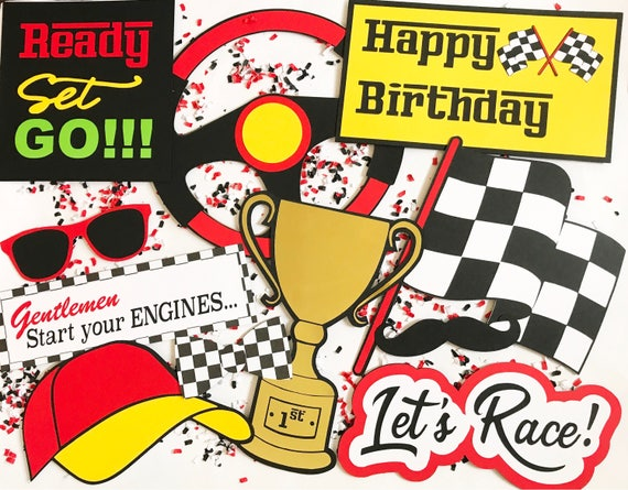 Race Car Photo Booth Props | Racing Photo Booth Props | Race Car Party Decor | Race Car Party | Racing Party | Photo Booth Props | Checkered