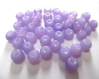 20 beads purple glass imitation jade 4mm (A-32)