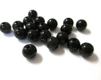 10 6mm black acrylic beads