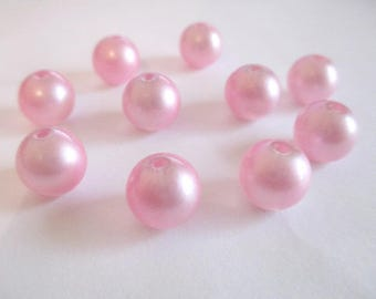 Pink clear shiny glass 10mm 10 beads