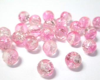 20 pink and white 6mm Crackle glass beads