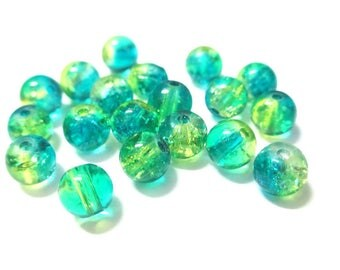 20 blue and yellow 6mm Crackle glass beads